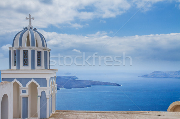 belfry and  caldera of Santorini island, Greece Stock photo © neirfy