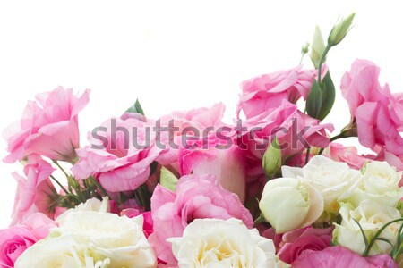 pink peonies and white wedding dress Stock photo © neirfy