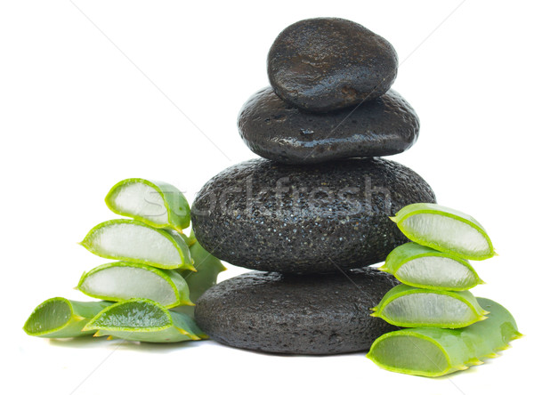 massage stones with aloe vera Stock photo © neirfy