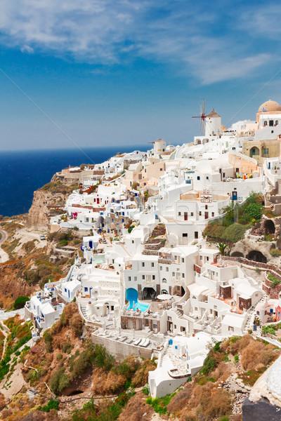 Foto stock: Tradicional · griego · pueblo · blanco · volcán · colina
