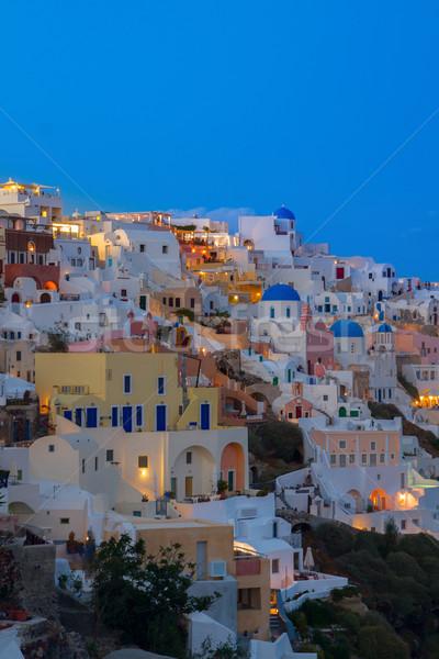 W. noc santorini domów Grecja niebo Zdjęcia stock © neirfy