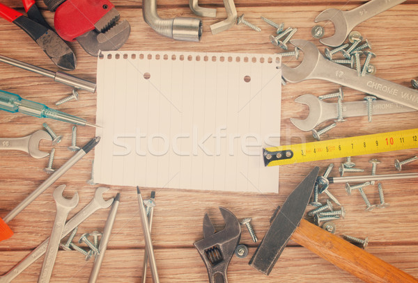 empty note with tools kit Stock photo © neirfy