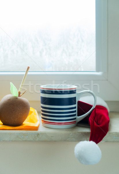 Cup of coffee on window sill Stock photo © neirfy
