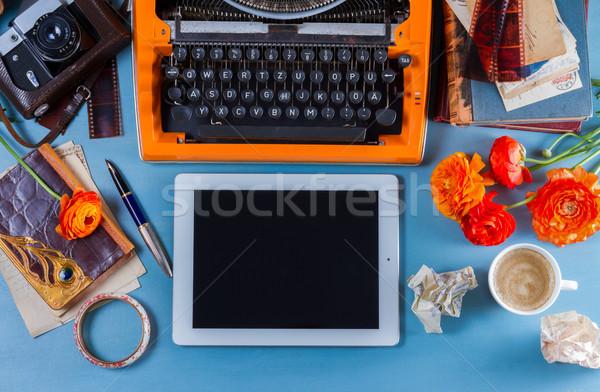 Vintage orange machine à écrire bleu fond Photo stock © neirfy