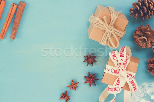 Azul rústico Navidad estilo cajas de regalo retro Foto stock © neirfy