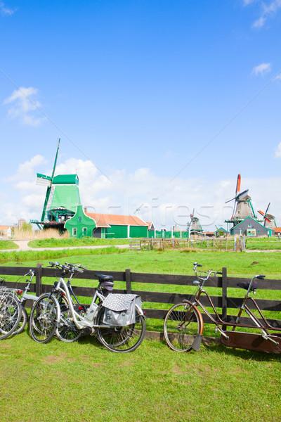 dutch windmills in Zaanse Schans Stock photo © neirfy
