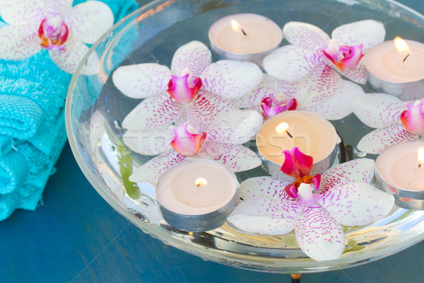 burning  candles and pink  orchid flowers close up Stock photo © neirfy