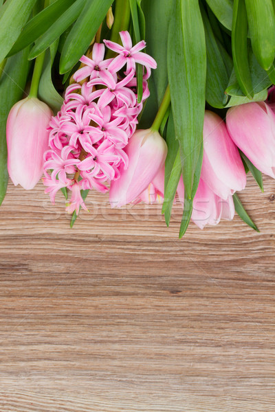 pink tulips and hyacinth flowers Stock photo © neirfy