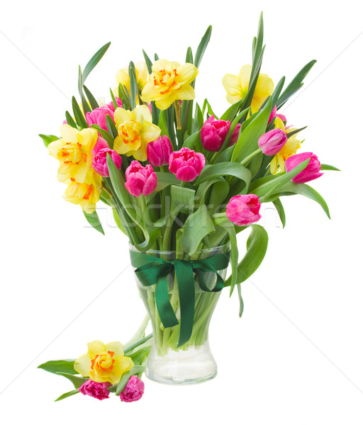 Boeket tulpen narcissen vaas roze Geel Stockfoto © neirfy