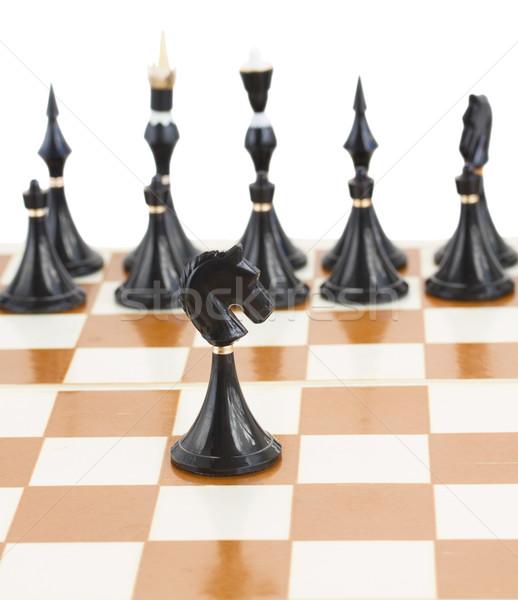 Schwarz Ritter Schach Bereich Macht Kampf Stock foto © neirfy