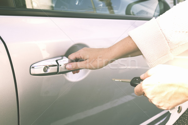 close up of hands with car keys Stock photo © neirfy