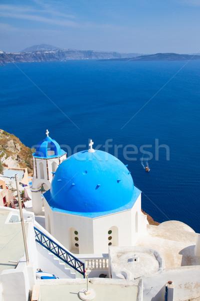 伝統的な 青 ドーム 海 サントリーニ 教会 ストックフォト © neirfy