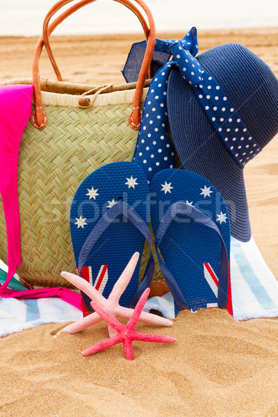 Zonnebaden zandstrand hoed stro zak Stockfoto © neirfy