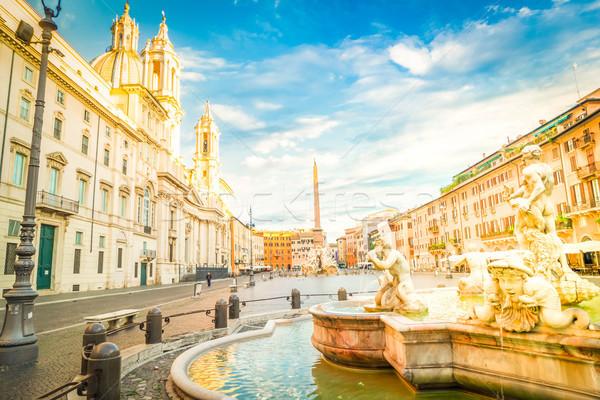 Roma Italia panorámica vista antigua fuente Foto stock © neirfy