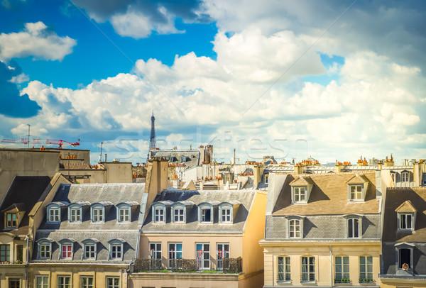 Tér Párizs városkép párizsi tetők Eiffel-torony Stock fotó © neirfy