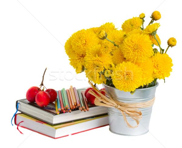 Könyvek citromsárga virágok fehér vissza az iskolába alma Stock fotó © neirfy
