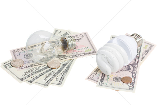 energy saving and normal   bulbs on dollars money Stock photo © neirfy