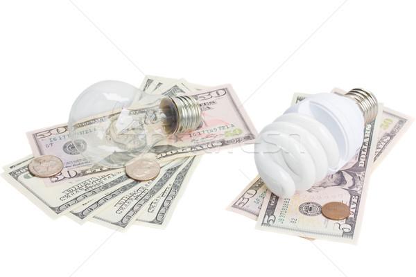 Energía ahorro normal dólares dinero lámpara Foto stock © neirfy