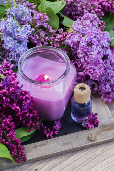 fresh lilac flowers with candle Stock photo © neirfy