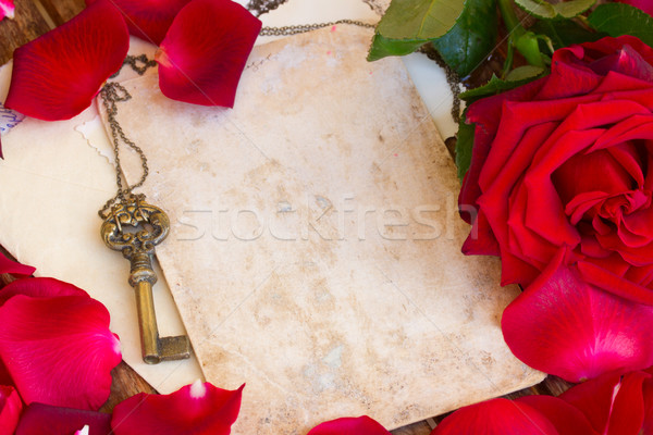 vintage background with rose petals  and key Stock photo © neirfy