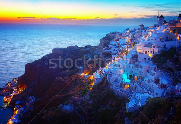 Stock fotó: Falu · éjszaka · Santorini · Görögország · ház · város