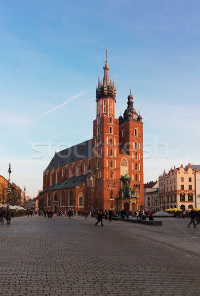 Bazilika Krakkó Lengyelország nap épület kék Stock fotó © neirfy