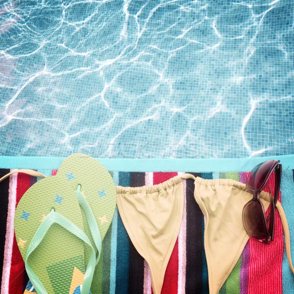 Sandały pływanie garnitur ręcznik granicy retro Zdjęcia stock © neirfy