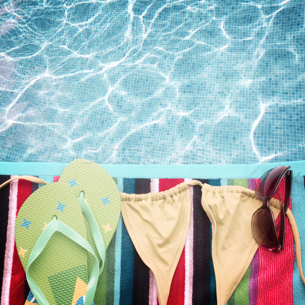 Sandalias natación traje toalla frontera retro Foto stock © neirfy