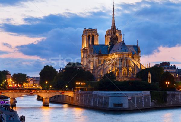 Notre Dame Katedrali Paris Fransa kilise gün batımı gökyüzü Stok fotoğraf © neirfy