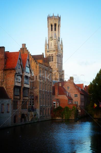 Widoku starych klasyczny wieża Belgia retro Zdjęcia stock © neirfy