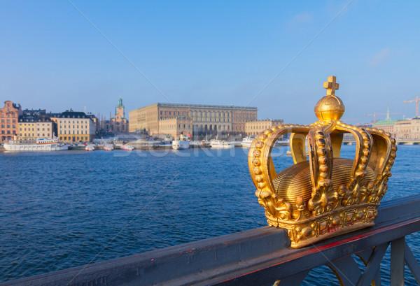 Kraliyet taç Stockholm Cityscape altın İsveç Stok fotoğraf © neirfy