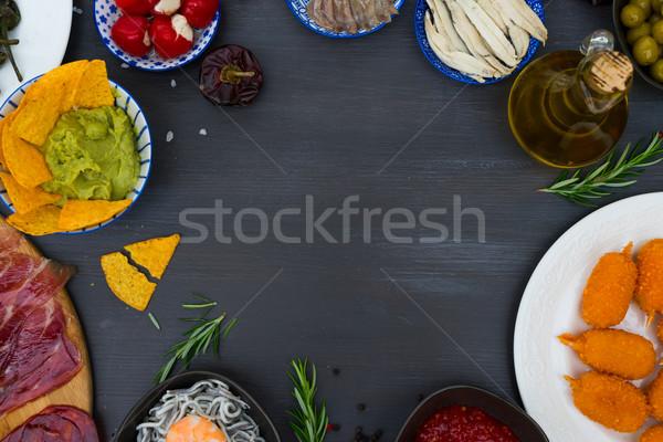 таблице испанский Тапас оливками Top Сток-фото © neirfy