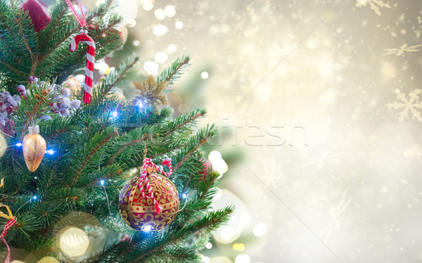 christmas fir tree with decorations Stock photo © neirfy