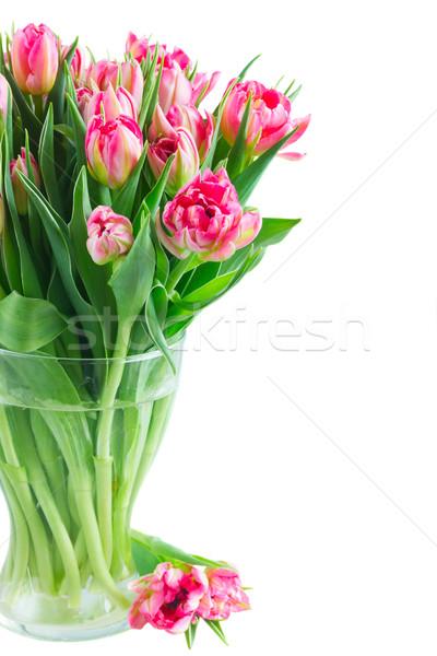 Virágcsokor rózsaszín tulipánok fényes üveg váza Stock fotó © neirfy