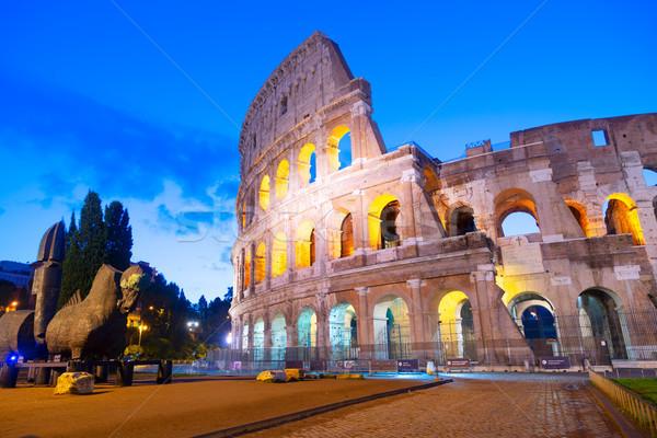 Colosseum Róma Olaszország kilátás híres megvilágított Stock fotó © neirfy