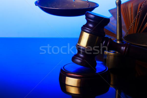 Droit justice marteau échelle bleu Photo stock © neirfy