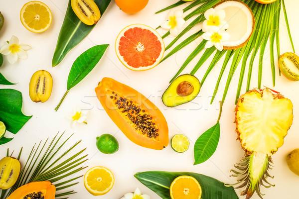 Yaz diyet taze meyve yeşil tropikal Stok fotoğraf © neirfy