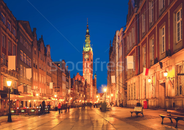 Lungo strada città vecchia danzica notte Polonia Foto d'archivio © neirfy