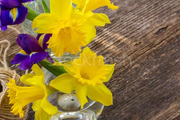 Пасху Daffodil желтый синий деревянный стол копия пространства Сток-фото © neirfy