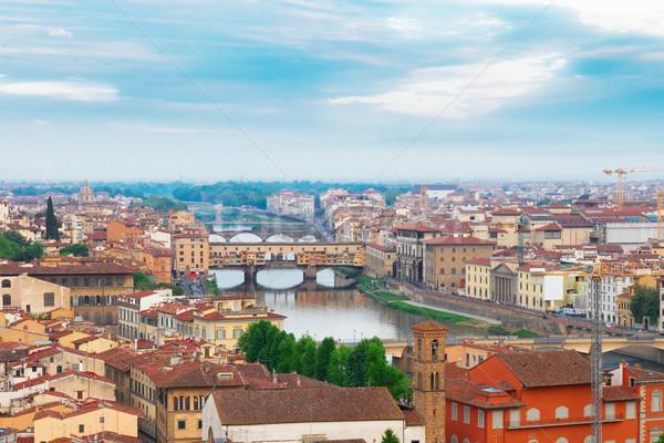 Floransa İtalya Cityscape ünlü köprü su Stok fotoğraf © neirfy