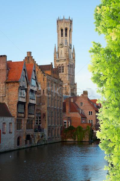 Görmek eski Belçika klasik kule kanal Stok fotoğraf © neirfy