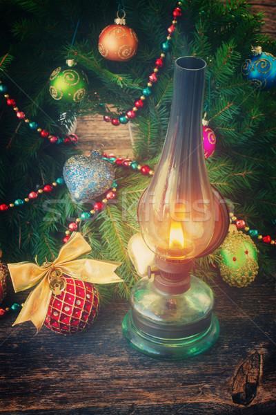 Zdjęcia stock: Vintage · latarnia · christmas · wieniec · odznaczony