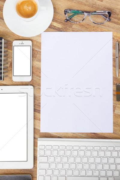 Stockfoto: Kantoor · tabel · desktop · witte · tablet