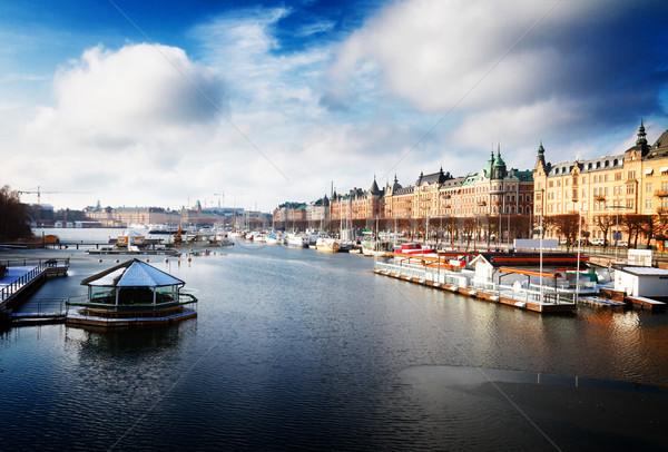 Panoramę Sztokholm Szwecja sceniczny panorama Zdjęcia stock © neirfy