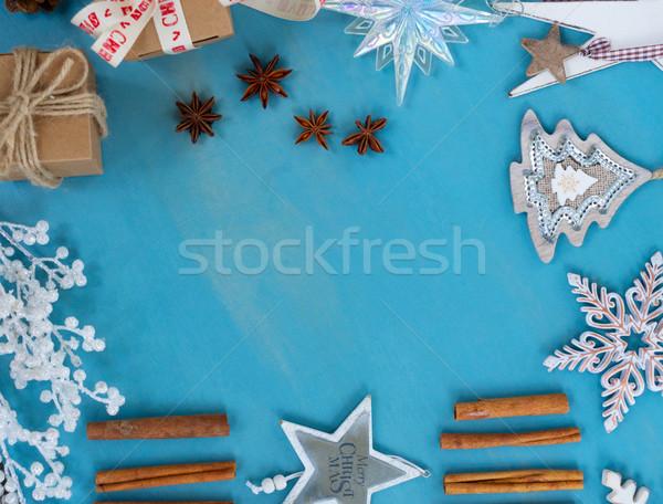 ストックフォト: 青 · 白 · クリスマス · フレーム · スタイル · コピースペース