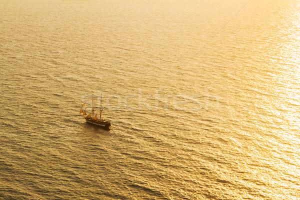 Sunset sea and ship Stock photo © neirfy