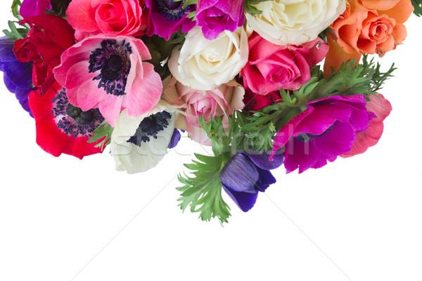 белый свежие красочный роз цветы границе Сток-фото © neirfy