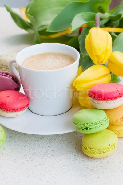Beker koffie ontbijt tulp bloemen Pasen Stockfoto © neirfy