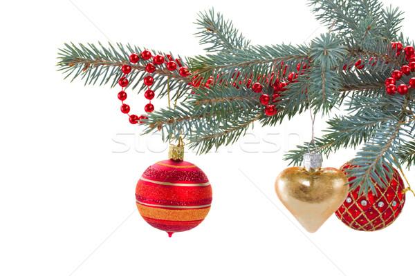 decorated evergreen tree close up Stock photo © neirfy
