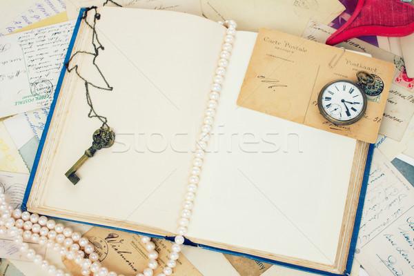 open empty vintage book Stock photo © neirfy